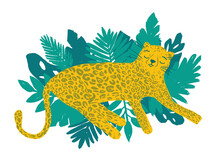 Leopard Lay Down On Tropical Leaves. Cartoon Wild Animal Resting. Vector Illustration, Animal Design, For Printing On Fabric, Clothing, Bedding, Printing, Postcards. Cute Baby Background.