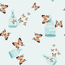 Seamless Pattern With Tropical Beautiful Butterflies And A Cage.