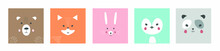 Cute Simple Portraits Of Animals, Faces Of Wild Animals: Bear, Fox, Hare, Penguin, Panda. Design Of Children's Clothing. Cartoon Character. Vector Illustration.