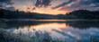 Beautiful Lakeside Sunset Panorama