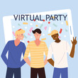 virtual party men cartoons in front of smartphone vector design