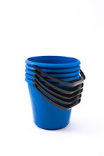 Set Of Plastic Blue Buckets On A White Background For Various Applications