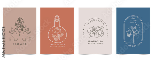 Collection of flower background set with hand, flower, lavender,magnolia,shape Canvas Print