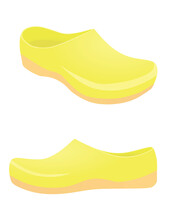 Yellow Clogs Shoes. Vector Ill...