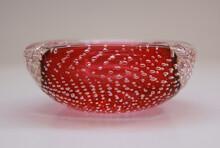Red Italian Handmade Murano Bubbles Glass Ashtray