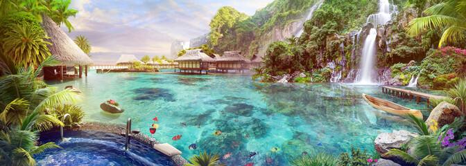 Tropical lagoon with waterfalls wallpaper murals