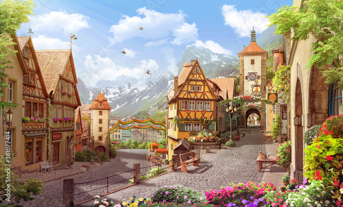 Cuadros en Lienzo Old street in a german town wallpaper murals alpes