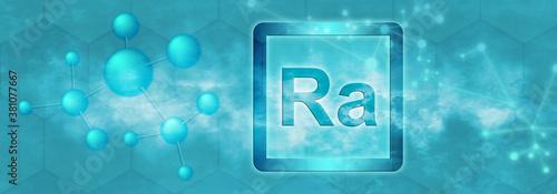 Photo Ra symbol. Radium chemical element