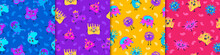 Bacteria And Viruses Seamless Pattern. Cartoon Pathogens In Blue And Red Microorganisms Causing Epidemics And Pandemics Bacterial Danger Coronavirus Infection In Yellow And Purple Vector Environment.