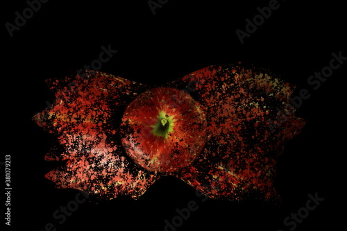 Fotomural decaying Polish apple on a black background artistic vision