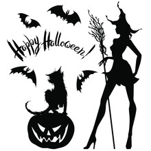Vector Halloween Set : Black On White Silhouettes Of Young Pretty Witch With Hat And Broom , Cat, Smiling Pumpkin Jack-o-lantern, Flying Bats And Hand Written Lettering. For Card Or Poster.