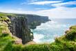 canvas print picture - Cliffs of Moher in Irland Meer Ozean Küste Atlantik Klippen Felsen Landschaft Natur / Sea Ocean Coast Atlantic Cliffs Rock Landscape Nature