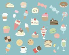 スイーツの手描きイラストのセット/かわいい/お菓子/デザート/洋菓子/ケーキ/クッキー/チョコレート
