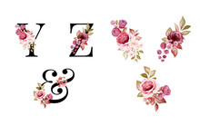 Watercolor Floral Alphabet Set Of Y, Z, & With Red And Brown Flowers And Leaves. Flowers Composition For Logo, Cards, Branding, Etc