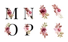 Watercolor Floral Alphabet Set Of M, N, O, P With Red And Brown Flowers And Leaves. Flowers Composition For Logo, Cards, Branding, Etc