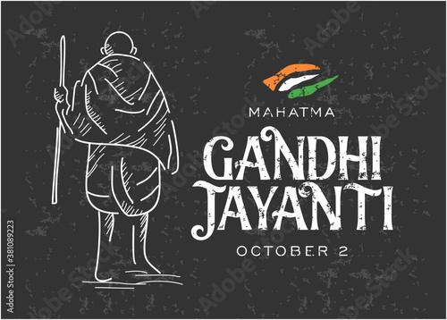 Fototapeta Gandhi Jayanti is an event celebrated in India to mark the birth anniversary of Mahatma Gandhi, vector design black board background obraz