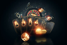 Creative Poker Template, Background Design With Golden Playing Cards And Poker Chips On A Dark Background. Casino Concept, Gambling, Header For The Site. Copy Space, 3D Illustration, 3D Render.
