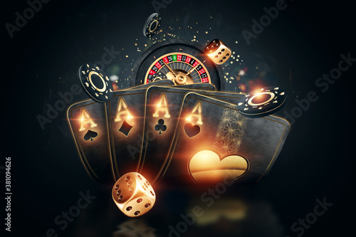 Fototapeta Creative poker template, background design with golden playing cards and poker chips on a dark background