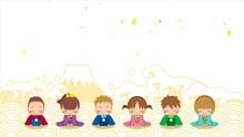 可愛い着物姿の子どもたちがお辞儀をするアニメーション 紙吹雪の舞う和風の背景