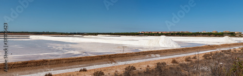 Canvastavla Sea salt pile ready for harvest in Marismas del Odiel wetlands