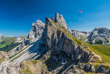 Seceda Peak With A Paraglider,...