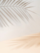 Palm Leaf Shadows On White Wall And Cream Pastel Floor. Abstract Background Of Shadows Palm Leaves For Creative Summer Mock-up. Neutral Tropical Palm Mockup On Light Backdrop. Vertical