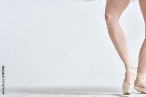Ballerina in a white tutu dance performed on a light background Canvas Print
