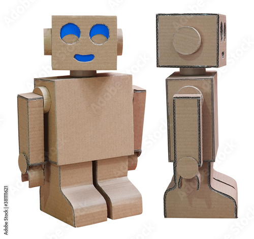 Obraz Robot homemade craft toy made of cardboard isolated on white background - fototapety do salonu