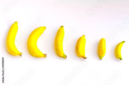 Fototapeta Different size and shape of Banana compare, A penis Size compare concept