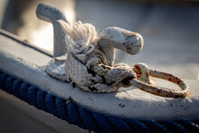 A Close Up Of Boat Ropes Tied ...