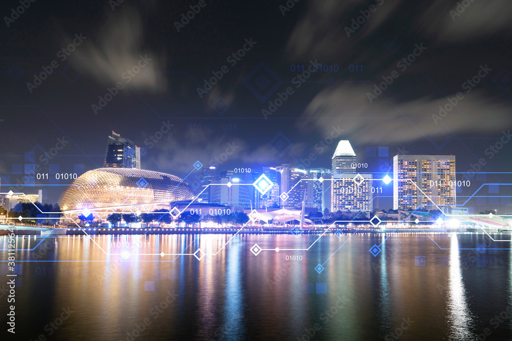 Fototapeta Information flow hologram, night panorama city view of Singapore. The largest technological center in Asia. The concept of programming science. Double exposure.