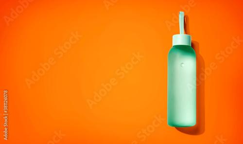 Fototapeta Water bottle with copy space - flat lay obraz