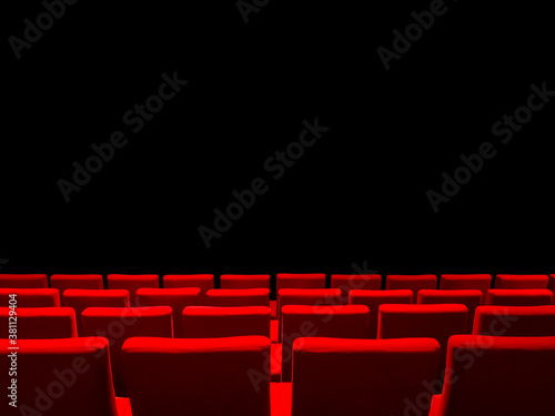Obraz na plátně Cinema movie theatre with red seats rows and a black background