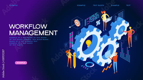 Fototapeta Organization and management of the workflow. Design and automation of work processes. Increase the productivity of your office. Banner template. Flat isometric vector illustration. obraz
