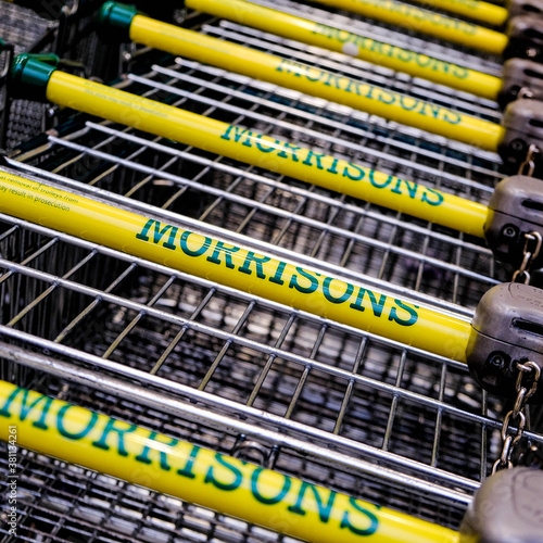 Morrisons Supermarket Shopping Trolleys With No People