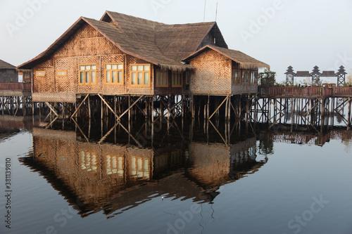 Fototapeta Inle Lake Myanmar 12/16/2015 floating hotel on stilts in lake