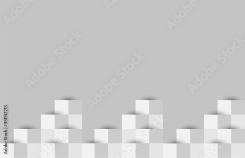Abstract gray white background with mesh of squares, mosaic, geometric template Fotobehang