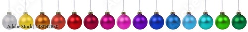 Fototapeta Christmas balls baubles banner ornament colorful decoration in a row isolated on white obraz