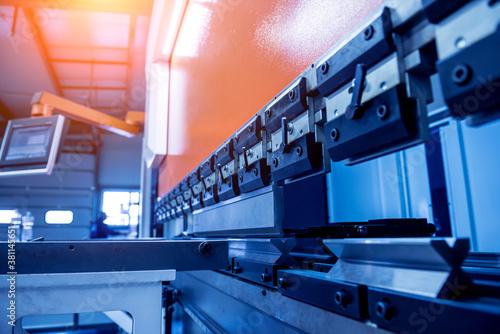 Fototapeta Modren hydraulic bending machine at metal manufactory. obraz
