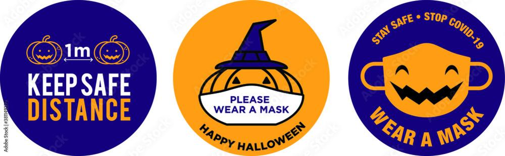 Fototapeta Halloween pumpkin wear face mask signage