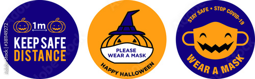 Photo Halloween pumpkin wear face mask signage