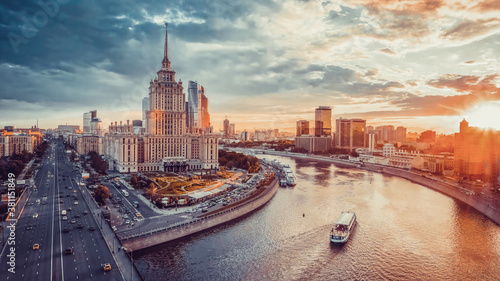 Obraz Aerial view of the Moscow city at sunset, Russia - fototapety do salonu