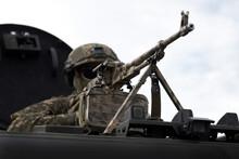 Soldier With A Machine Gun. Ca...