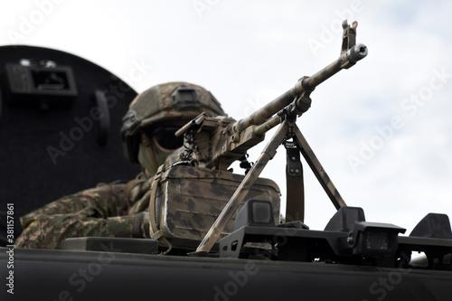 Soldier with a machine gun. Caucasus war. Military Conflict in the Caucasus