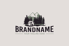 Cabin Logo Vector Graphic With Pines And Mountain For Any Business