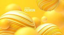 Abstract Background With Dynamic 3d Bubbles. Plastic Yellow Bubbles. Vector Illustration Of Glossy Soft Balls. Modern Trendy Banner Or Poster Design