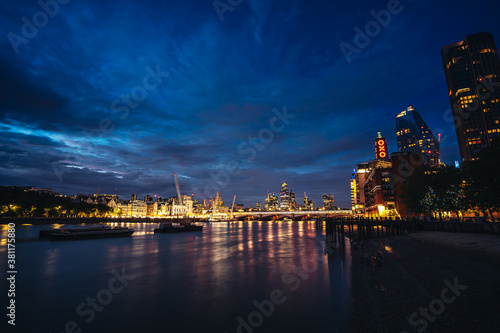 Late evening view of the City business area of the capital over the river Thames Canvas