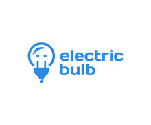 Electric Light Bulb Logo Design. Power Socket And Plug Vector Design. Creative Idea And Innovation Logotype