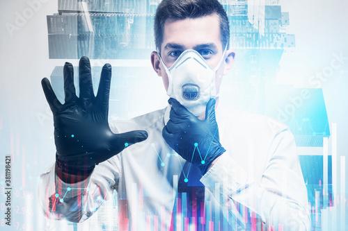 Fototapeta Man in mask using financial graph interface in city obraz