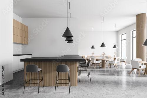 Foto Modern white and wooden bar interior, side view
